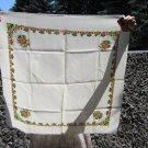 Wool Floral Vintage White Scarf, Ukrainian White Shawl, Russian Floral Scarf, Floral White Head Scar