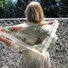 Vintage Floral Wool White Scarf, Ukrainian White Shawl, Russian Floral Scarf, Floral White Head Scar
