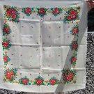 White Vintage Floral Wool Scarf, Ukrainian White Shawl, Russian Floral Scarf, Floral White Head Scar