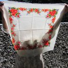 Wool Vintage Floral White Scarf, Ukrainian White Shawl, Russian Floral Scarf, Floral White Head Scar