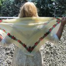 Russian Floral Scarf, Vintage Wool Floral White Scarf, Ukrainian White Shawl, Floral White Head Scar
