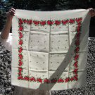 Vintage Wool Ukrainian Floral White Scarf, Ukrainian White Shawl, Russian Floral Scarf, Floral White