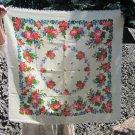 Vintage Wool Floral White Scarf, Ukrainian White Shawl, Russian Floral Scarf, Floral White Head Scar