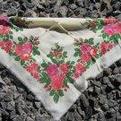 Vintage Wool Floral White Shawl, Ukrainian White Shawl, Russian Floral Scarf, Floral White Head Scar