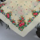 Russian Floral Scarf , Vintage Wool White Shawl, Vintage Ukrainian Shawl, russian floral scarf, head