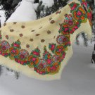 Vintage Wool White Shawl, Vintage Ukrainian Shawl, Russian Floral Scarf ,russian floral scarf, head