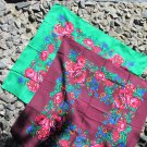 Vintage Floral Green or Vinous Scarf, Ukrainian Wool and Acrylic Green Shawl, Russian Floral Scarf,