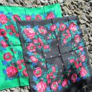 Vintage Floral Black (Vinous, Green) Scarf, Ukrainian Wool and Acrylic Black (Vinous, Green) Shawl,