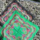 Vintage Wool and Acrylic Floral Black or Green Scarf, Ukrainian Green Shawl, Black Russian Floral Sc