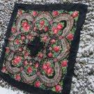 Vintage Ukrainian shawl, Russian shawl, black Wool shawl, Tablecloth, Floral Shawl ,Shawl With Tasse