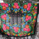 Vintage Ukrainian shawl, Russian shawl, Wool shawl, Floral Shawl, Babushka Russian