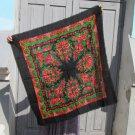 Black Ukrainian Shawl, Vintage Black Wool Floral Lovely Scarf, Russian Floral Scarf, Floral Black He