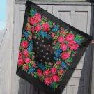 Floral Black Head Scarf, Vintage Black Wool Floral Lovely Scarf, Black Ukrainian Shawl, Russian Flor