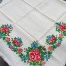 Vintage Wool Shawl, Vintage Ukrainian Shawl, Russian Floral Scarf , White pure wool head scarf,  Woo