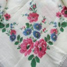 Floral Scarf with pink and blue flowers, Vintage Floral cotton white shawl, Pink and blue flowers Uk