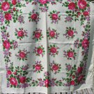 Vintage Wool Floral White Scarf with Fringe, Pink flowers Ukrainian White Shawl, Russian Floral Scar