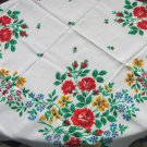 Floral cotton white shawl,  Red, yellow, green Ukrainian shawl, Vintage sheer shawl wrap, Spring sha