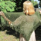 Vintage wool shawl green crochet shawl with fringes, green boho triangle shawl 1980's, vintage green
