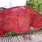 Vintage polyester shawl red crochet shawl with fringes, red boho triangle shawl 1980's, vintage red
