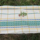 Vintage cotton tablecloth, White and green tablecloth with Ukrainians ornament, great tablecloth wit