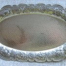 Oval Metal Tea Tray, Vintage Metal Small Tray for tea ceremony, Silver Serving Tray with hands, Salt