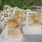 Vintage Soapstone 3 Fish Set, Handcarved Sopastoned Fishes, Soapstone Openwork, Carved miniature 3 f