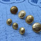 Vintage 7 Buttons Golden Color Metal Railroad Buttons, Vintage Anchor Button Set, Metal 7 military b