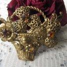 Mother's day gift Vintage rhinestones, flowers basket brooch, Golden brooch gift, wonderful gift for