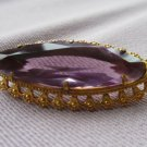 Beautiful Purple Crystal Brooch in lovely Brass Setting, Vintage Purple Crystal Brooch, Big Purple G