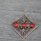 Valentine's gift Vintage rhinestones and silver square filigree brooch, nickel silver brooch, wonder