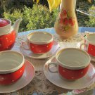 Polka dots Ceramic Tea Set for 4 persons 9 pieces, Vintage polka tea set, Lovely vintage USSR tea se