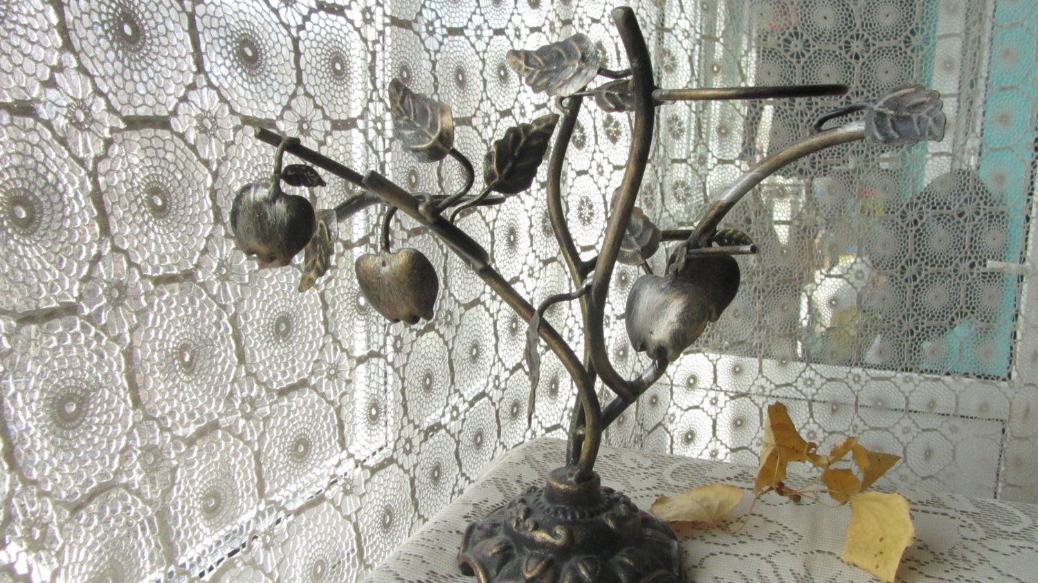 Vintage Metal Tree Candle Holders with leaves, Metalland Tree Candle Holders, Rustic Vintage Metal C