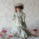 Vintage Porcelain Doll, Red heade, light green dress, 19