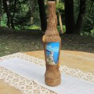 Vintage Covered With Wooden Bark Bottle, Barked Bottle, Krimea Bottle, Handmade cowered bottle, Wood