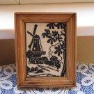 "Miniature Embroidery Black Picture Landscape, Windmill Embroidery Picture, embroidery picture 4.7"""""