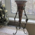 Vintage Rattan and Metal Umbrella 1980s, Floral Metal Holder for Decor, Rattan Garden Decor Holder,