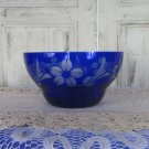 Blue Glass Vintage floral Bowl, Round Shape Blue Glass Luncheon Sandwich or Salad Plate, 54 oz Round