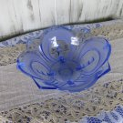 Round 54 oz  Punch Dip Bowl, Party 54oz Punch Bowl, Blue Glass Vintage floral Bowl, Round Shape Blue