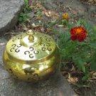 Vintage English Golden Colored Metal Lidded Pot Bowl, Trinket Jewelery Dish Basket, Midcentury metal