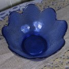 Vintage Salad Bowl for Punch, Glass cookie jar, ornamented punch plate Blue Glass, Salad plate blue