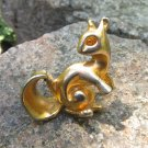 Squirrel Rustic Vintage Golden Colored Brooch Jewelry Gift, Squirrel Pendant Gift for Her, Squirrel