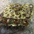 Vintage Golden Colored Broch, Multi-Stone Pendant, Carved Broche, Collectible Broche Golden colored,