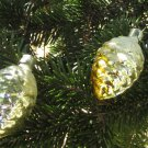 Vintage Christmas golden pine cone ornament, Christmas ornament of Glass, USSR, Soviet Christmas