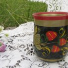 Cup Vintage USSR, Wooden Mug Khokhloma, Colorful Hand Painted Wooden Russian folk art, Soviet home d