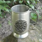Dark Silver color Goblet For Beer, 1975 Midcentury lookind Mug with curved patterns, Game of thrones