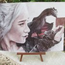 Daenerys Targaryen and her Dragon on Shoulder Art Made of colorful ballpoint pens, Game Of Thrones P