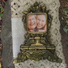 Golden Metal Big Frame For Small Photo, Metal decor Old Clock base, Photo frame metal collectible cl