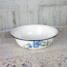 Black Rim White floral art enamel plate, Vintage camping plate, White enamel metal plate, Tin plate
