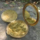 Patterned Metal Powder Box with a Mirror, Vintage Refillable Powder Compact, Mirrored Compact Vanity