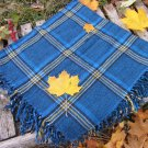 Blue wool checkered pattern vinteage scarf, USSR vintage wool scarf, Warm gift for christmas, Cheche